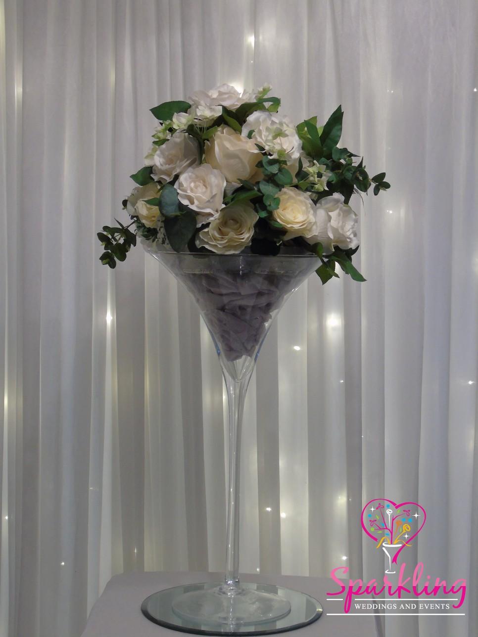 3 Martini Vase With White Floral Arrangement